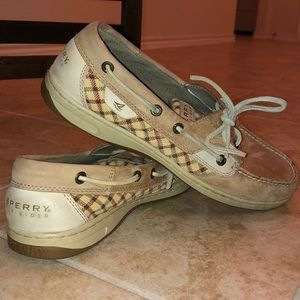 Sperry Top-Sider Boat Shoes. Tan w/ flannel print.